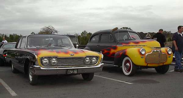 Flames on Fairlane and Chevy